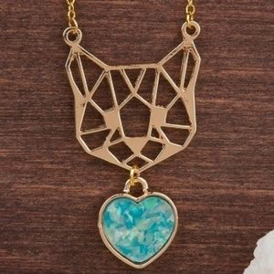 Jewelry - Luxury Gold Plated Mint Green Heart Cat Necklace